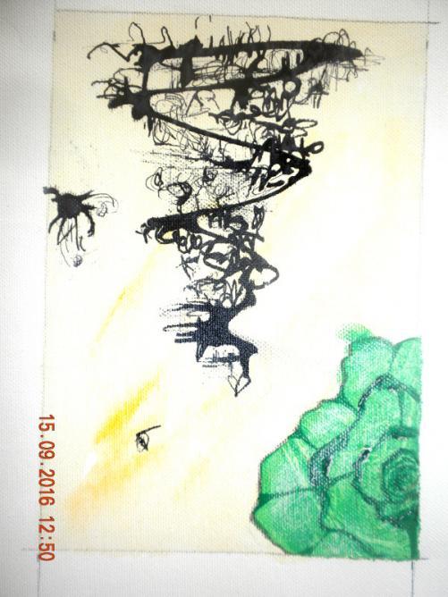 Composition avec rose verte (détail)